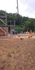 撮影現場 足場施工